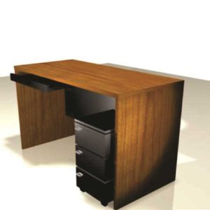 Manager desk with mobile drawer unit with 2 views Front View
